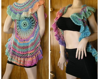 Grace Mandala vest, shrug, gypsy shawl, boho vest, hippie vest,  crochet festival vest in blended pastel shades, one size fits most