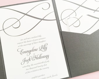 Pocketfold Wedding Invitation, Wedding Invite, Pocket Wedding Invitation, Pocket Fold Wedding Invitation, Pink and Grey Wedding Invitation
