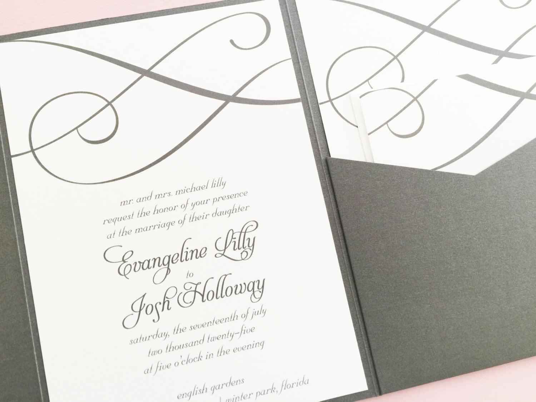 Wedding Invitation Pocket Fold: Pocketfold Wedding Invitation Wedding Invite Pocket Wedding