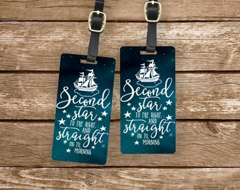 Luggage Tag Set Second star to the Right Storybook Quote Metal Luggage Tag Set With Custom Info On Back, 2 Tags Choice of Straps