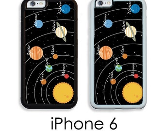 iPhone 6S 6 or PLUS Retro Solar System Print Your Choice of Trim Hard, Rubber or Tough Cases