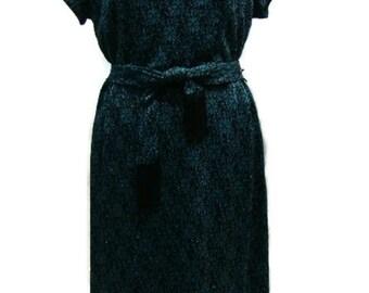 Vintage Navy Blue Dress Vintage Flower Pattern Navy Lurex Dress Vintage Evening Dresses Retro Evening Dresses Vintage Floral Dress