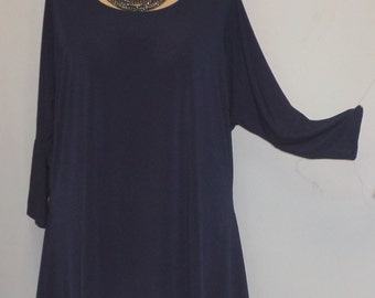Coco and Juan, Lagenlook, Plus Size Top, Navy, Traveler Knit, Drape Side, Women's Tunic Top, One Size, Bust  to 60 inches