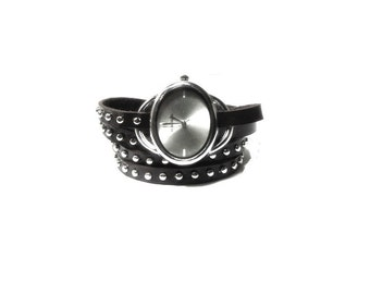 Black Leather Wrist Watch  , Silver Studded Black Leather Bracelet , Oval Silver Watch Face , Leather Wrap Wrist Watch