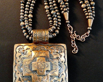 Three-Inch Square Stamped Copper Pendant with 200 Handcrafted Copper Beads & Copper Clasp