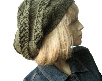 Hand Knit Hat, The Stacey Hat, Moss Green Lace Striped Slouchy Hat, Knitwear, Vegan Knits, Gifts For Vegans, Green Knitted Hat Fall Fashion