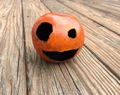 Small Carved Jack O'Lantern Gourd - Halloween Pumpkin  - Jack-o-lantern made from dried gourd Cute Face