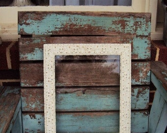 Vintage Shabby Chic Wood Gesso Frame Baroque Rustic Farmhouse French Country Antique Off White Distressed Chippy Wood