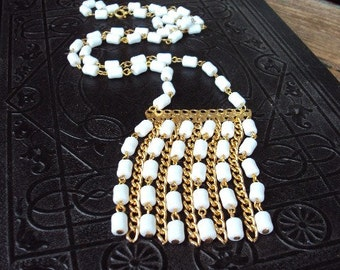 Vintage Mod White Beaded Necklace Long Chain Large Pendant Tribal Ethnic Bohemian Chic Costume Jewelry 1960s Modernism