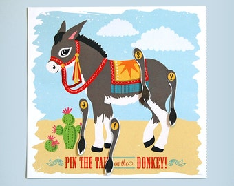 Pin The Tail On The Donkey, A3, Cut Out, Party, Game, Kids, Children's, Retro, Kitsch, Hand Drawn, Birthday, Decor, Supplies, Party Games