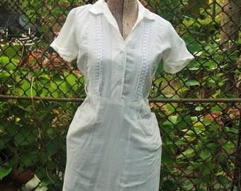 Vintage 1950s White Day Dress Summertime Boho Cotton Dress S/M