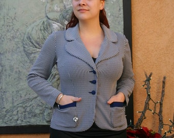 Vintage 1960s Blue and White Checkered Blazer L/XL