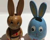 Two Vintage Wooden Bunnies
