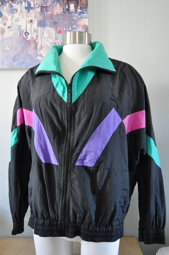 Vintage Puma Windbreaker Jacket Teal Magenta Black Purple Geometric 90s Running Ladies MEDIUM Large