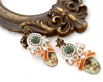 chandelier pastel earrings | romantic spot drop earring | vintage pink green jewelry | spring summer jewellery trends | statement