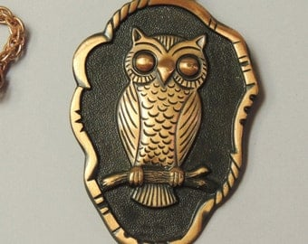 Solid Copper OWL Pendant with 29 inch chain