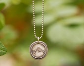 Silver Mountain Necklace, Outdoorsy Jewelry, Wax Seal Pendant, Hiking, Handmade in America, Adventure, Outdoors