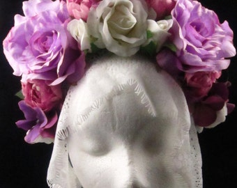 OOAK Edges of Twilight Headdress for Day of the Dead/Wedding/Cospay