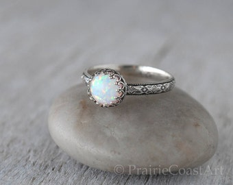 Opal Ring Sterling Silver - Handcrafted Artisan Silver Ring  - Sterling Silver Handforged Opal Stack Ring