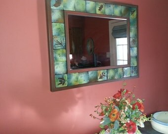 Large mirror tile mirror with wooden frame unique mirror one of a kind