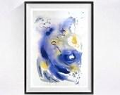 Original watercolor Lyrical Abstract artwork yellow grey blue art Modern abstract painting abstract artwork Grey painting painting yellow