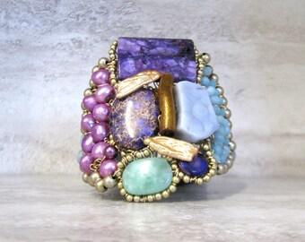Striking Cuff Bracelet in Bold Purple Amethyst & Aqua Blue Color Block- Large Semi Precious Stone Bracelet by Sharona Nissan