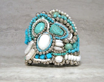 Huge Turquoise Cuff Bracelet Native American Inspired Hand Wired by Sharona Nissan