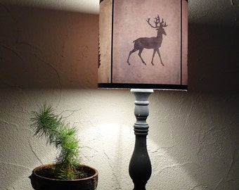 Deer drum lamp shade lampshade Woods Shadows - holiday home decor, Scandinavian Christmas, winter, christmas tree, bear, deer, woodland