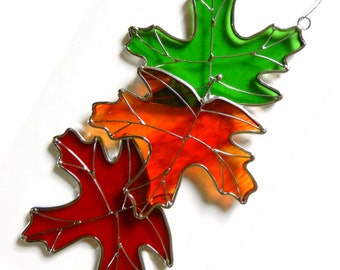 Stained Glass Triple Maple Leaves  Sun catcher