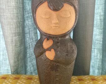 Vintage Mod Stonewear Boy Flower Pot