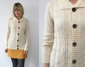 70s cream cardigan. cable knit cardigan - small to medium