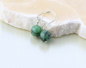 Ruby Zoisite Earrings - Mini Drop Gemstone Earrings