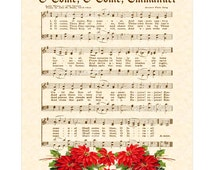 O Come O Come Emmanuel - Custom Christian Home Decor - VintageVerses Sheet Music - Inspirational Wall Art - Red Poinsettias - Christmas Hymn