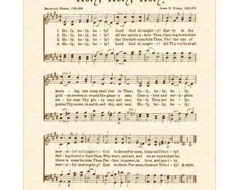 HOLY, HOLY, HOLY - Hymn Wall Art - Custom Christian Home Decor - VintageVerses Sheet Music- Inspirational Wall Art-
