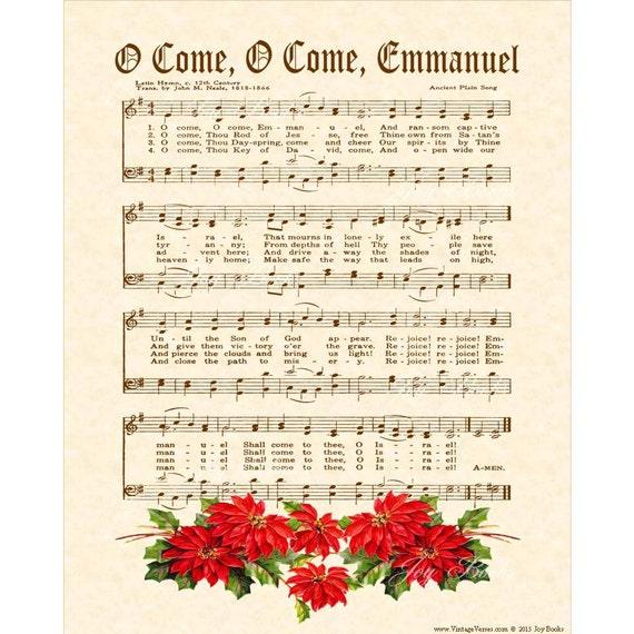 Items similar to O Come O Come Emmanuel - Custom Christian ...