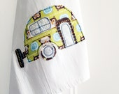 Tea Towel // Camper Applique // Flour Sack Tea Towel // Owls // 100% Cotton // Retro Style // Green // Original Fabric Design // Housewares