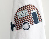 Tea Towel Appliqued Camper Retro Honeycomb - 100% Cotton Flour Sack