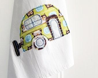 Tea Towel Appliqued Retro Camper Caravan. Owl Design - 100% Cotton Flour Sack