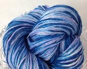 Suri Alpaca Yarn, Fingering 3 ply Yarn, Suri Alpaca/Polwarth/Silk 80/10/10, Hand Dyed The Sky is the Limit