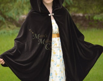 Velvet Cape Cloak Tippet for Regency Victorian Gown Dress in Sable brown