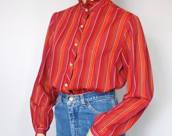 Blouse Vintage Striped Ruffle Collar Blouse Red Long Sleeve Blouse 1970's Blouse Size 12