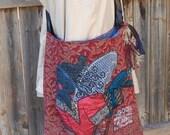 Large Bohemian Handbag, Handmade Gyspy Crossbody, Angel Aqqlique, Wine and Denim, Recycled Bag, Eco Friendly Fringed Gypsy Bag, Shoulder Bag