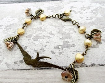 bird bracelet, pearl bracelet, bronze bracelet, autumn fall jewelry