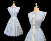 Vintage 1950s Baby Blue Cotton Pintucked Lace Trim Full Skirt Dress XS/S
