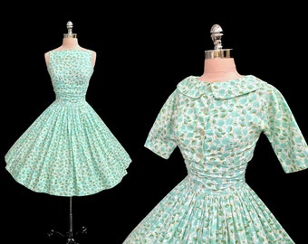 RESERVED Vintage 1950s Jonathan Logan Aqua Floral Cotton Full Skirt Dress and Jacket Set XS
