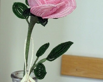 Pink Long-stem Rose - Valentine's Day- French Beaded Flowers