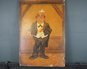 1940S Ne York Polish Bar Waiter Portrait / Folk Art Trade Sign