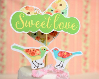Paper Cake Topper Paper Wedding Cake Topper Love Bird Cake Topper Printable Wedding Cake Topper Paper Topper