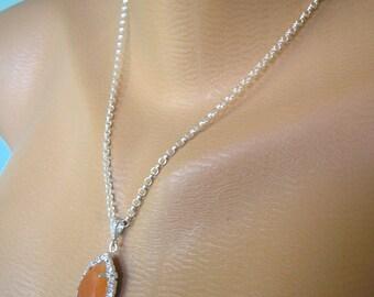 Orange Opal Crystal Bridal Pendant Teardrop Pendant  Rhinestone Crystal Bridal Set Wedding Jewelry Bridesmaid Gift Sterling Silver Necklace