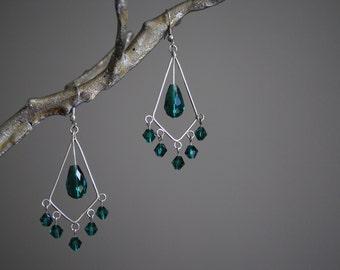 Teal crystal chandelier earrings